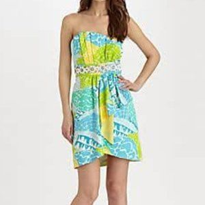 Lilly Pulitzer Lagoon Crystal Strapless Dress 8